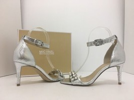 Michael Kors Sylvie Women's High Heel Sandals Ankle Strap Silver Snake L... - $61.12