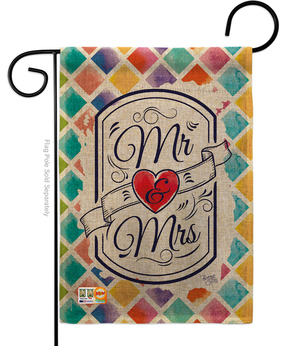 Primary image for Mr & Mrs Burlap - Impressions Decorative Garden Flag G165112-DB