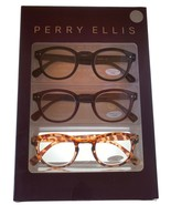 Perry Ellis  Mens 3 Pack Plastic Square Blk, Brn Tort, Reading Glass PEBX45. 2.0 - $26.99