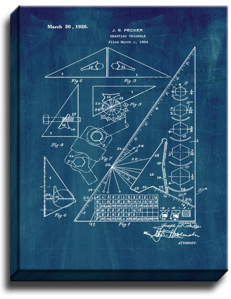 Primary image for Drafting Triangle Patent Print Midnight Blue on Canvas