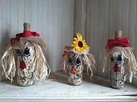 Fall Scarecrow Wine Bottles Set Of Three - £28.79 GBP