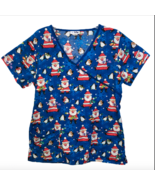 V Life Blue Santa Claus Penguin Christmas Holiday Medium Scrub Shirt Nurse Xray - $14.95