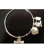 Graduation Silvertoned Wire Expandable Bangle Bracelet - $8.99