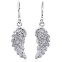 Antiqued Angel's Wings Dangle Earrings - 100% Sterling Silver - FAST SHI... - $15.82