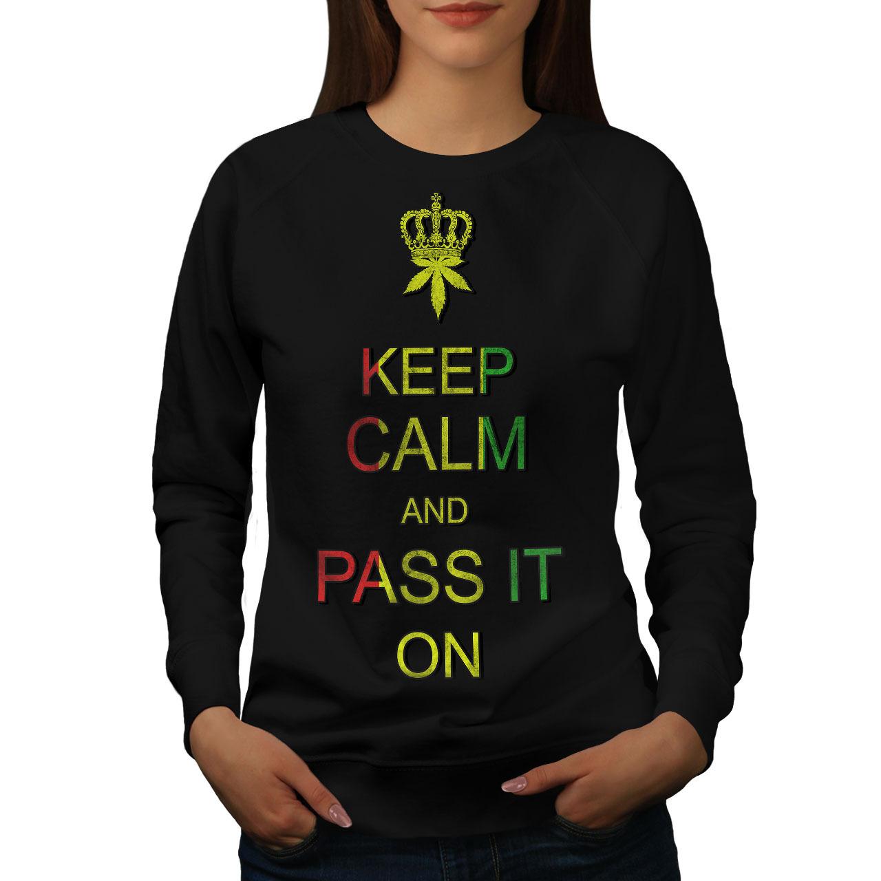Keep Calm Weed Pot Rasta Jumper On Rasta Smoke Women Sweatshirt - $18.99
