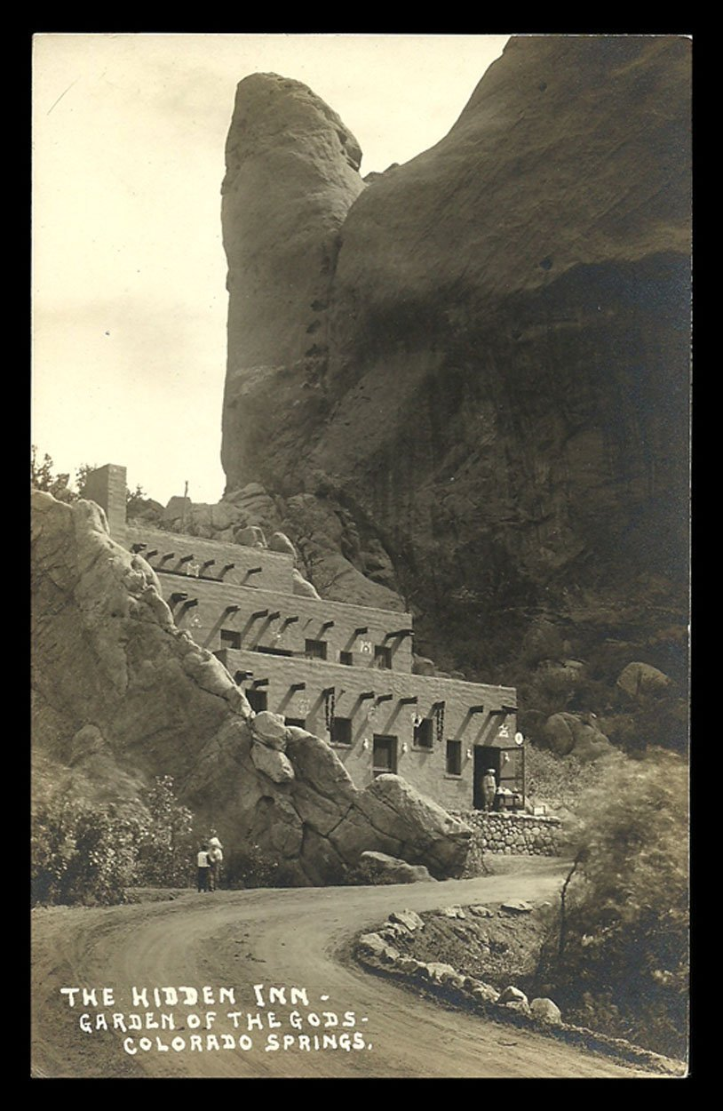 Hidden Inn Real Photo Postcard Colorado Springs Garden of the Gods CO RPPC image 1