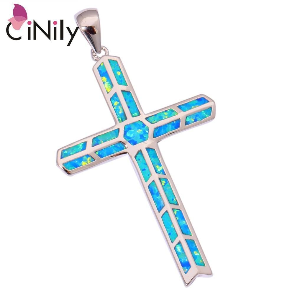 Primary image for Blue Fire Opal Silver Plated Pendant Wholesale Retail Hot Sell Cross for Women J