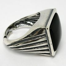 Ring Herren 925 Silber Glanz, Brüniert, Onyx Eckige Cabochons, Verstellbar image 3