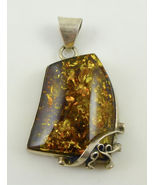 AMBER Nugget Vintage PENDANT in Sterling Silver - 2 inches - FREE SHIPPING - $85.00