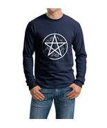 Devil Trap runes Supernatural Symbol Longsleeve Men NAVY BLUE - $21.00