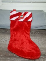 "Red Christmas stocking w/candy cane trim. 17"". - $11.83"