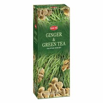 Hem Ginger Green Tea Incense Sticks Beautiful Handmade Natural Fragrances - $16.23