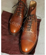 Men's Handmade Grains Leather Derby Ankle High Dress Boots For Men - $159.99+