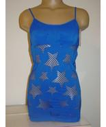 Spree blue seamless cami fishnet laser cut stars stripper sissy jr-S/M-N... - $10.36