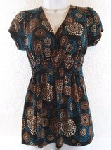 Agenda Sz Small Blue Brown Floral V-Neck Blouse Stretchy Short Sleeve B234 - $12.99