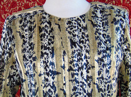 NICOLA Vintage 80s artsy animal polyester blouse 14 w/DEFECT (T42-02I8G) image 2