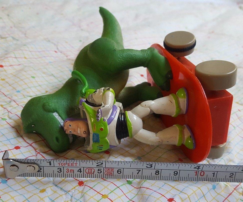 Disney Pixar Toy Story Rex Action Figure Dinosaur + Buzz Lightyear on skate rare