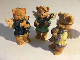 "3 Bear Angels Musical Band Instruments Resin Figurine 4"" image 6"