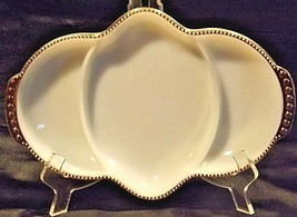 U.S.A. FIREKING White Relish Tray with Gold Trim AA18-1267 Vintage 3 Partitions