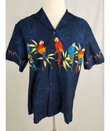 Pacific Legend Men's Navy Blue Tropical Parrot Shirt Size Large Short Sl... - $39.59