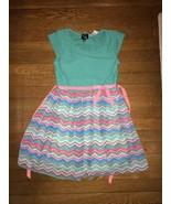 * Pink & Violet mint blue green pink chevron dress size large 10 - 12 girl - $8.42