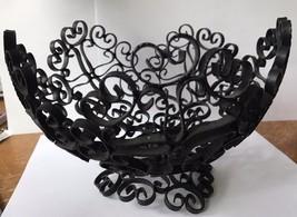 Vintage Wrought Iron Scroll Black Metal Fruit B... - $35.52