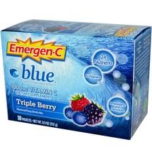 Emergen-C Blue 1000 mg Vitamin C, Triple Berry, 30 Packets, 8.4 g Each - $29.99