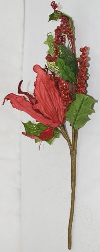 Unbranded 999367 Green Red Poinsettia  Holly Berries Christmas Decoration