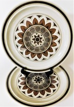 2 Royal China Omegastone Aztec Geometric Pattern USA Brown Tan Dinner Pl... - $29.69