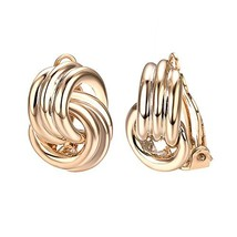 Yoursfs Clip On Gold Earrings for Women Love Knot Endness Love Women Fas... - $11.67