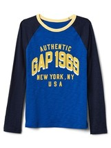 Gap Kids Boys T-shirt 6 7 Navy Blue Logo Graphic Raglan Long Sleeve Crew... - $17.95