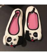 Nick & Nora Dog Slippers Small 5 6 Womens cream Black puppy - $13.06