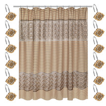 Popular Bath Spindle Gold Collection Fabric Shower Curtain & Hook Set - $44.99