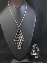 ELEGANTE  Rhinestone & Silvertone Necklace & Clip Earrings Set by Sarah Coventry - $24.79