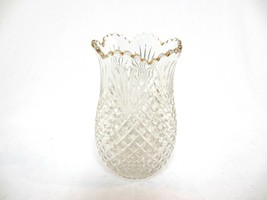 Vintage Cut Glass Vase with Gold Trimmed Saw Tooth Rim - $41.25