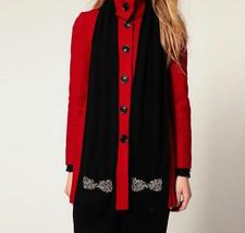 Juicy Couture Scarf Wool Knit Vanderbilt Crystal Bows Pockets $98 - $67.32