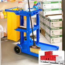Lavex Janitorial Cleaning Cart / Janitor Cart with 3 Shelves and Vinyl B... - $145.00