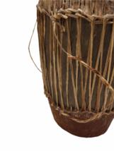 "Vintage HANDMADE Large Native American Cow Hide Wood Drum Almost 19"" High image 4"