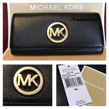 NWT MICHAEL KORS LEATHER FULTON FLAP CONTINENTAL WALLET IN BLACK - $68.88
