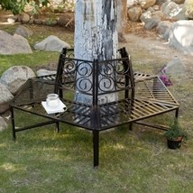 Tree Hugger Bench in All-Weather Black Metal  - Surrounds Tree - $345.00