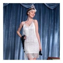 Sexy Woman Refinement Uniform Underwear Tassel Dress Halloween   white - $39.89