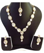 Indian Bollywood Ethnic Bridal Gold Tone Silver Kundan Fashion Jewelry Set - $10.59