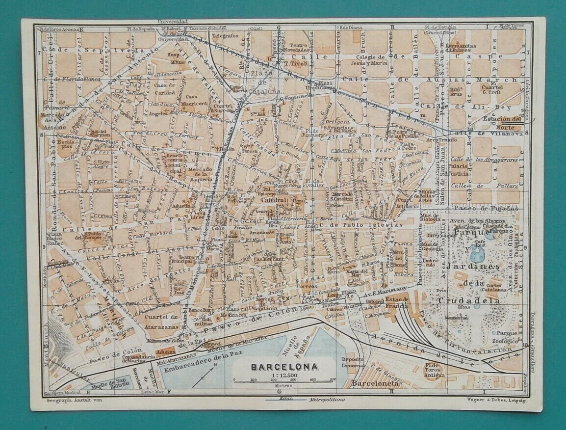 "Primary image for 1934 MAP 6 x 8"" (15 x 20 cm) - BARCELONA City Plan Spain & PALMA in Mallorca"