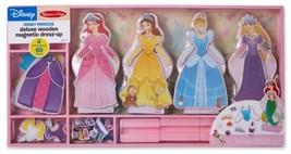 DISNEY Princess Deluxe Wooden Magnetic Dress-Up Set 4 Dolls 60 Pieces - $32.18