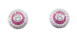 14k Gold Genuine Natural Diamond and Ruby Double Halo Stud Earrings (#J4... - $1,295.00