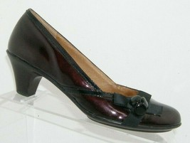 Sofft 'Selan' chanti patent leather round toe grosgrain bow slip on heels 7.5M - $31.43