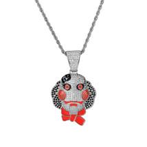 "Hip Hop Iced Tekashi69 Jigsaw pendant w/ 18"" Franco Chain Choker Bling Necklace - $29.99"