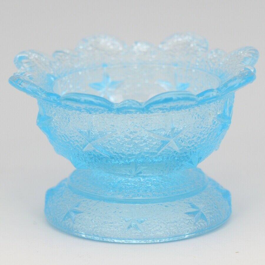 Vintage Glass LG Wright Stippled Star Blue Open Salt Celler