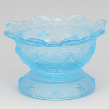 Vintage Glass LG Wright Stippled Star Blue Open Salt Celler