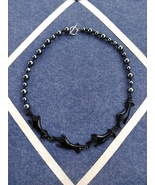 Vintage Abstract Ebony Hands Beaded Modernist Fashion Necklace - $35.00